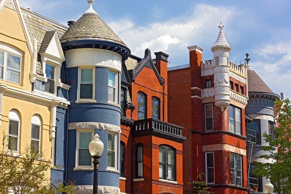 A row of historic and impressive multicolored buildings in Dupont Circle in Washington, D.C.